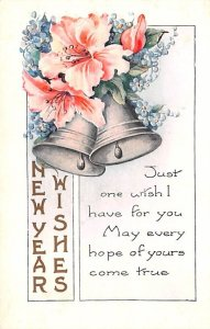 New Year Wishes Poem Bells & Flowers Writing on Back