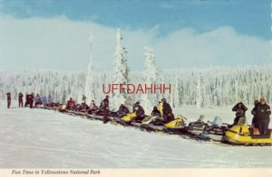 Continental-size FUN TIME IN YELLOWSTONE NATIONAL PARK about 20 snowmobilers
