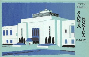 G26/ Santa Monica California Postcard Hand-Made Serigraph City Hall 2