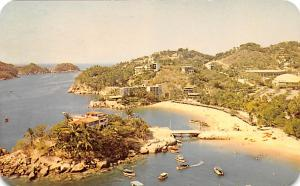 Mexico Old Vintage Antique Post Card Hotel Caleta Acapulco 1966 Missing Stamp