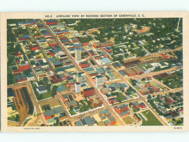 Linen AERIAL VIEW OF TOWN Greenville South Carolina SC n3939