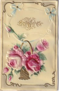 BEST WISHES; Embossed Basket Of Roses, PU-1914