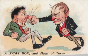 COMIC, 1900-10s; A Xmas Box, and many of them, Boxer punching man in nose