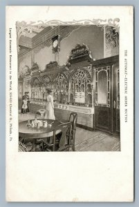 PHILADELPHIA PA CHESTNUT STR. AUTOMATIC RESTAURANT ADVERTISING ANTIQUE POSTCARD