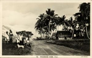 fiji islands, Roadside View with Native People (1930s) RPPC