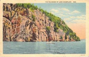 1943 The Palisades of Lake Champlain Vermont VT 9LC Curteich Linen Postcard