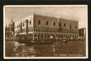 Postmarked 1936 Venezia Italy Palazzo Ducale Real Photo Postcard