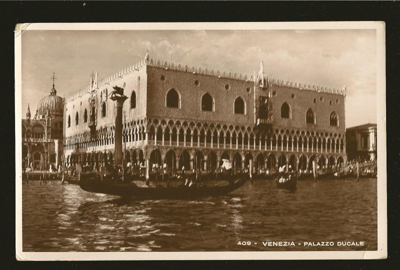 Postmarked 1936 Venezia Italy Palazzo Ducale Real Photo Postcard