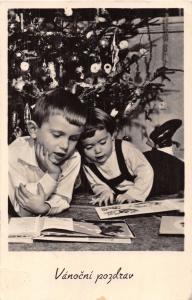 VANOCNI POZDRAV~CZECHOSLOVAKIA CHRISTMAS PHOTO POSTCARD~CHILDREN DECORATED TREE