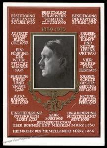 3rd Reich Germany Hitler 50th Birthday 1939 Achievements Propaganda Card 90572