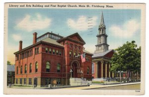 Fitchburg, Mass, Library and Art Building and First Baptist Church, Main St.