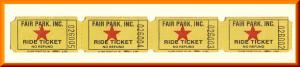 4 Vintage Fair Park Amusement Ride Tickets, Nashville, Tennesse/TN