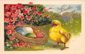 Easter~Chick Finds Colored Eggs in Golden Nest~Pink Flowers~Emboss~Germany