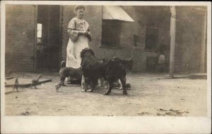 Amateur - Woman in Yard w/ Dogs & Chickens c1910 Real Photo Postcard