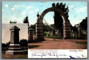 Postcard Brockton MA c1906 Melrose Cemetery & Monument Grover Factory Victims