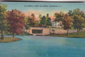 New York Saugerties Sawkill Creek and Bridge 1954