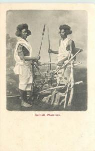 Somali Wariers Holding Spears Somalia Undivided Back Postcard