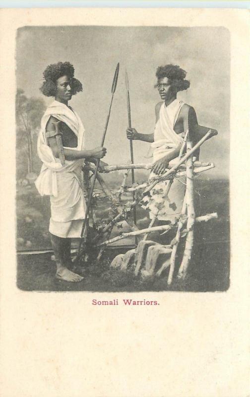 Somali Wariers Tenant Spears Somalia Entier Arrière Carte Postale