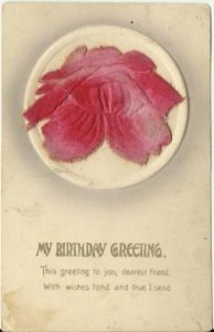 Pink Rose Embossed w/ Velvet My Birthday Greeting This greeting to you, dearest