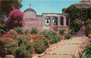 Misson San Juan Capistrano California belfry Padre Junipero Statue CA Postcard