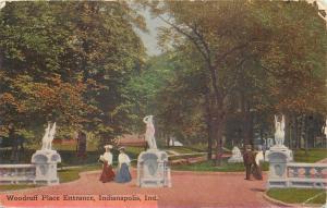 Indianapolis Indiana~Folk Strolling Among Statues at Woodruff Place Entrance '08