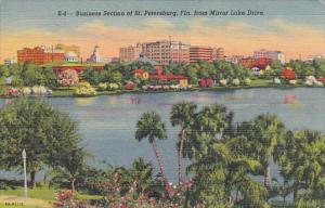 Business Section From Mirror Lake St Petersburg Florida 1950 Curteich