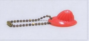 Vintage Red Plastic Toy Fireman's Hat On Chain