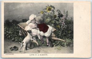 1910s Greetings Postcard LOVE IN A BARROW Boy & Girl Kiss / Terrier Dog UNUSED