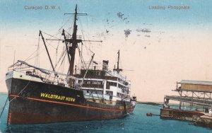 CURACAO, D.W.I. PU-1928 ; Ocean Liner loading Phosphate