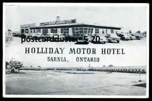 p805 - SARNIA Ontario Postcard 1950s Holliday Motor Hotel Advertising