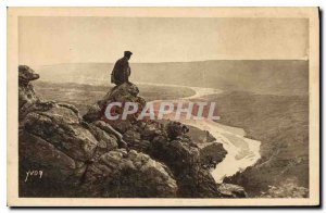 Old Postcard Landscapes and stones Provence Verdon Gorge near the exit of the...