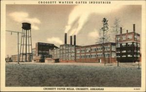 Crossett AR Paper Mills Watzek Gates c1940s Postcard