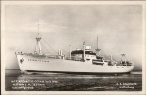 M/S Steamer Ship ANTARCTIC OCEAN c1950 Real Photo Postcard