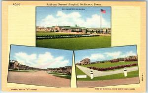 McKinney, Texas Postcard Ashburn General Hospital VA 3 Views Curteich Linen