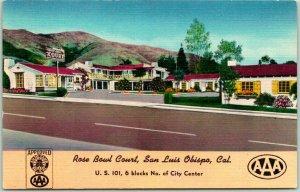 San Luis Obispo, CA Postcard ROSE BOWL COURT Highway 101 Roadside Linen c1950s