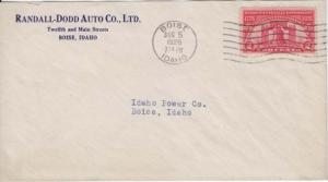 BOISE ID - RANDALL DODD AUTO COMPANY - 1926 COVER + FLAG CANCEL / 12th & Main St