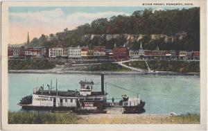 Ohio Postcard 1934 POMEROY River Front STEAMER CHAMPION NO3 Elberfeld Store