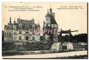 Old postcard Chenonceau Le Chateau I and L Wing Thomas Bohier the Tower of ma...