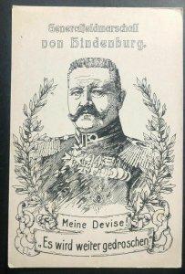 Mint Germany Picture Postcard General Von Hindenburg My Motto