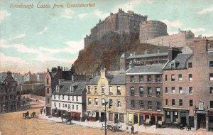 Edinburgh Castle from Grassmarket, Scotland, Early Postcard, Unused