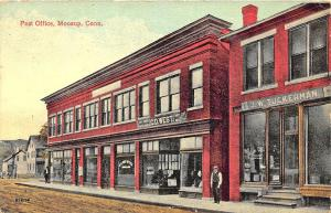 Moosup CT Post Office Store Fronts Post Office Dirt Street, in1914 Postcard
