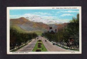 CO Pikes Peak Platte Ave COLORADO SPRINGS Postcard PC