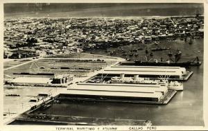 peru, CALLAO, Terminal Maritimo y Aduana (1950s) RPPC Postcard