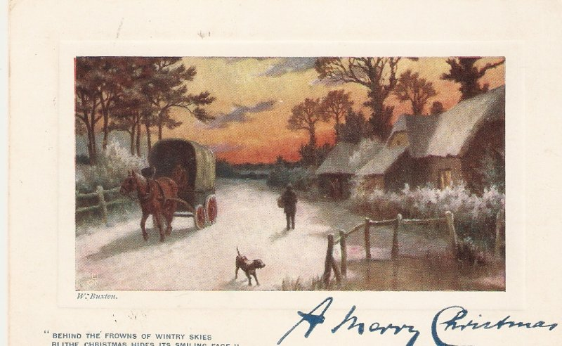 W.Buston. Cillage cee.Cart Horse TukOilette Christmas Ser. PC # C1184