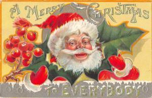 Christmas Greetings Santa Claus Holly Leaf Vintage Postcard JA4741727