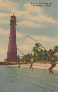 KEY BISCAYNE , Florida , 1930-40s ; Fishing at LIGHTHOUSE