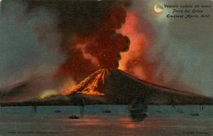 Italy -  Naples. Mt Vesuvio Eruption in 1906