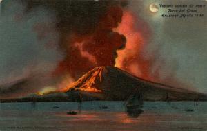 Italy -  Naples. Mt Vesuvio Eruption in 1906