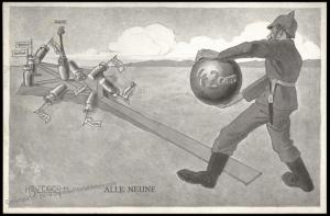 Austria Germany WWI Patriotic Card Against Allies Artillery Bowling All Ni 81153