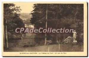 Postcard Old St Denis sur Sarthon Chateau fault of a corner of the park